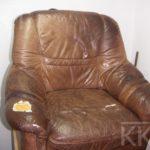 uzupełnianie ubytków skóry w fotelu skórzanym